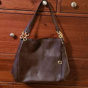 Coach Brown Pebbled Leather Hobo Bag NWOT
